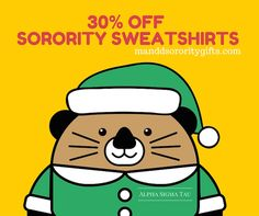 SAVE 30% off ALL Sorority Sweatshirts on this page!  COUPON CODE: SWEATS30   What an awesome savings on these sorority sweatshirts! Price 34.98. 30% off with coupon a savings of $10.49. You pay only $24.49 for these great hoodie sweatshirts! You may buy as many as you want at this great price simply enter coupon code at checkout!