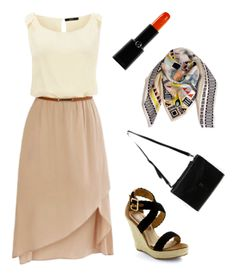 We love this neutral tone dress with the red lipstick to add some color.