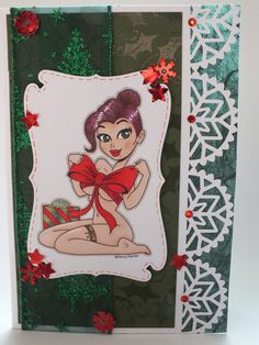 Kenny K digi image Adult Bow handmade card and coloured by me xx