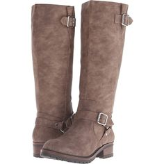 Kenneth Cole Unlisted Tough Break Women's Boots, Taupe ($65) ❤ liked on Polyvore featuring shoes, boots, knee-high boots, taupe, knee high platform boots, side zip boots, round toe boots, faux boots and platform boots