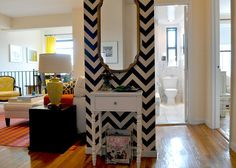 chevron patterns, color, wall mirrors, black white, paint