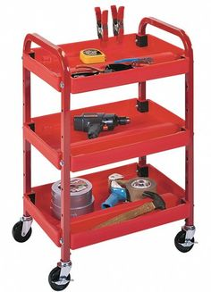 "Compact Adjustable Utility Cart (Red) (32""H x 22""W x 15.5""D)"