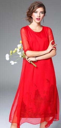 Red Silk Linen Braid Neckline Half Sleeve Asymmetrical Hem Midi Dress