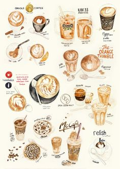 Watercolor Illustration Coffee Collection Print No.3 by thelilyx, $18.00