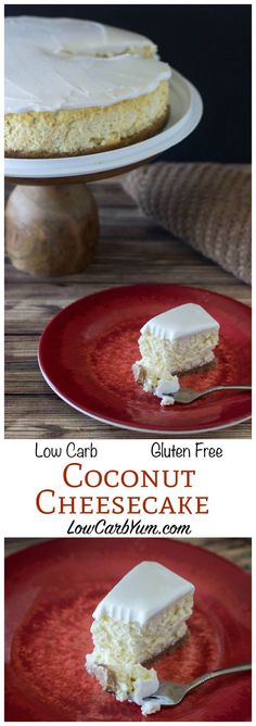 Low carb - Gluten free recipe - LCHF - Keto - Cheesecakes are one of the most popular low carb high fat desserts. We love this LCHF keto gluten free coconut cream cheesecake. Coconut Cream Cheesecake Recipe, Low Carb Cheesecake Recipe, Cheesecake Crust, Weight Watcher Desserts, Low Carb Deserts, Low Carb Sweets, Desserts Keto, Gluten Free Desserts, Protein Desserts
