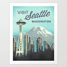 Seattle Space Needle Art Print by Jenny Tiffany - $18.00
