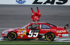 Carl Edwards doing his patented back flip after he wins... would LOVE to see more of those this season!! <3 my favorite driver!  ღϠ₡ღ