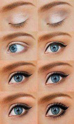 Eye Makeup - Amazing what eyeliner does to opening up your eye to look bigger!
