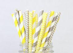 Gray and Yellow Straws  Kid Birthday Party Grey by SocialBashAndCo