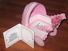 Barnevognkort, pyntet.    http://maritslillescrappingverden.blogspot.no/2011/08/barnevognkort-til-to-jenter.html#more