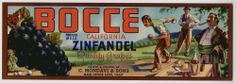 BOCCE Vintage Grape Crate Label  ***An Original Fruit Crate Label***, Wine