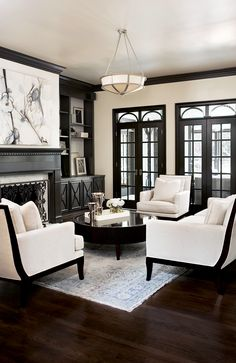 (Photo 1 of Chic, Exquisitely Detailed Living Room ~ Interior Design: Collins Creek, Greenville, SC ~ Linda McDougald Design Formal Living Rooms, Home Living Room, Living Room Designs, Living Room Decor, Living Spaces, Apartment Living, Modern Living, Dark Floor Living Room, Bedroom Decor