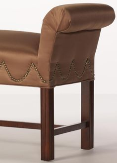 The Browning Bench uses a wave nailhead trim pattern. This style really highlights the experience of an upholsterer, as it is very difficult to get perfect. Leather Dining Chairs, Parsons Chairs, Wing Chair, Nailhead Trim, Browning, Vanity Bench, Wave, Highlights, Armchair