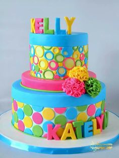 colourful girly cake