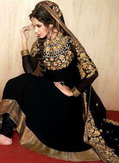 $92.59 Black Faux Georgette Embroidery Anarkali Salwar Kameez 26331