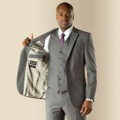 Stvdio By Jeff Banks Grey With Blue Narrow Stripe 2 On Tailored Fit 3 Piece Suit