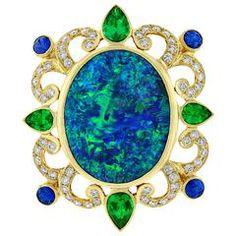 Crevoshay Black Opal Emerald Sapphire Diamond Gold Pendant