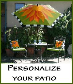 Outdoor Painted Umbrellas | Outdoor Living Ideas / Paint Misbehavin' painted umbrellas
