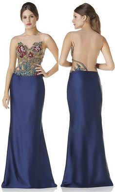 Vestido com corpete florido todo bordado com saia azul
