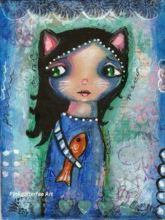 Cat Girl Original Mixed media painting Whimsical art on Etsy, $35.00