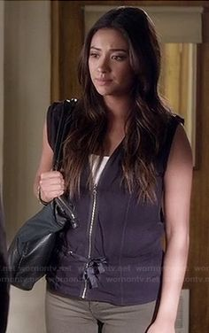 Emily's tie front zip up vest on Pretty Little Liars.  Outfit details: http://wornontv.net/17941/