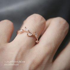 CZ Rose Gold Olive Leaf Ring Band  | kellin - Jewelry on ArtFire