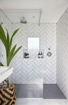 35 modern bathroom decor ideas match with your home design style page 43 Loft Bathroom, Ensuite Bathrooms, Bedroom Loft, Bathroom Renovations, Small Bathroom, Grey Grout Bathroom, Metro Tiles Bathroom, Loft Ensuite, Dark Floor Bathroom