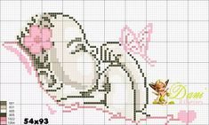 Ponto cruz Baby Cross Stitch Patterns, Cross Stitch For Kids, Cross Stitch Fabric, Cross Stitch Baby, Cross Stitch Charts, Cross Stitch Embroidery, Hobbies And Crafts, Diy And Crafts, Crochet Flip Flops