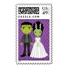 Halloween Frankenstein Wedding Postage with Bride #halloweenwedding #halloweenweddingpostage #cutehalloween