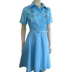 Rockabilly Swing Dress Vintage 1950s Montgomery Ward Flower Embroidery Tulle Skirt Belt Was $48 - Now $30 http://www.rubylane.com/item/676693-CLO167/Rockabilly-Swing-Dress-Vintage-1950s-Montgomery