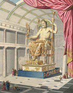 Zeus in Olympia. Feidias' statue in gold and ivory in Olympia's main temple. The statue was 12 meter high and decorated with paintings and precious stones.
