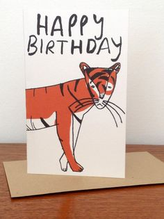 Happy Birthday Card with an illustrated tiger by AbbeyMassey, £2.50