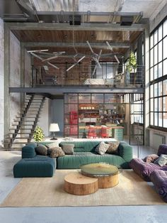 Home Decor Outlets Loft Inspiration : Golovach Tatiana & Andrey KotThe Definitive Source for Interior Designers Loft Apartment Decorating, Apartment Design, Studio Apartment, Apartment Interior, Room Interior, Apartment Ideas, Plans Loft, Container Home Designs, Design Loft