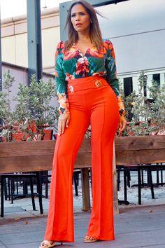Fabianna Orange Green Print Long Sleeved Bodysuit for Sale in Wellington, FL - OfferUp Red Trousers Outfit, Orange Pants Outfit, Red Dress Pants, Orange Outfits, Stylish Work Outfits, Modern Outfits, Chic Outfits, Fashion Outfits, Summer Outfits