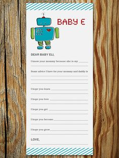 Robot Baby Shower Game  Wishes for Baby Printable by ericapaoli, $8.00
