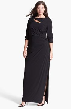 Free shipping and returns on Betsy & Adam Embellished Cutout Long Jersey Dress (Plus Size) at Nordstrom.com. Asymmetrical cutouts slice across the front and back of a scintillating full-length dress polished with a hint of glam crowning one beaded shoulder. Slinky side ruching and a floor-scaling slit ease the curve-flattering style.