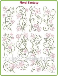 Floral Fantasy - stylized floral machine embroidery design collection for 5x7 hoops. Looks great in black & white. #machineembroidery #florals #flowers #decorative