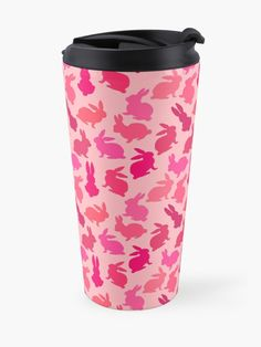 Bunnies Galore Pinks travel mugs by Notsundoku | Redbubble #repeatpattern #bunnies #rabbits #bunny #Easterbunny #Notsundoku #redbubble #girly #travelmugs #coffeemugs #mugs
