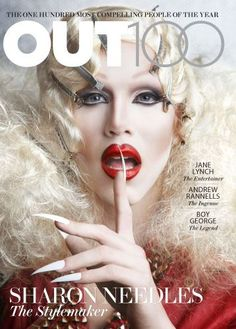 OUT100: THE MOST COMPELLING PEOPLE OF THE YEAR  Sharon Needles, Andrew Rannells, Jane Lynch & Boy George cover OUT Magazine - December 2012  Covers and Portraits photographed by M. Sharkey