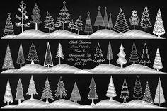 Chalk Christmas & Winter Trees by FrankiesDaughtersDesign on Creative Market – tree Noel Christmas, White Christmas, Christmas Crafts, Christmas Decorations, Xmas, Chalk Art Christmas, Christmas Design, Holiday Decor, Printable Calendar Template