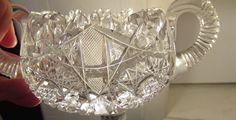 American Brilliant Antique ABP Cut Glass Crystal Hobstar Open Sugar /CandyBowl