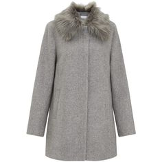 John Lewis Capsule Collection Sasha Faux Fur Collar Coat, Grey (€220) ❤ liked on Polyvore featuring outerwear, coats, long sleeve coat, gray tweed coat, gray coat, faux fur collar coat and tweed coat