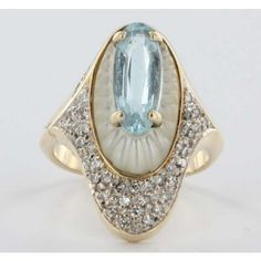 """Alouette"" ~ vintage azure topaz and mother-of-pearl ring with pave diamonds in a 14k gold setting from French art deco artist and designer Romain de Tirtoff (Erté)....Art Deco  #ArtDecoTopaz"