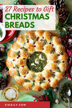 These specialty, holiday artisan bread recipes are spectacularly beautiful and delicious. They make beautiful gifts or as a centerpiece for your Christmas table. Holiday Loaves and Christmas Bread to bake for the season or special enough to give as holiday gifts. Christmas Bread, Christmas Cooking, Christmas Wreath Bread Recipe, Italian Christmas, Christmas Kitchen, Elegant Christmas, Brunch Casserole, Christmas Appetizers, Christmas Parties