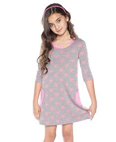 Big Girls Star Shift Dress 8 Pink Multi >>> Click image to review more details.
