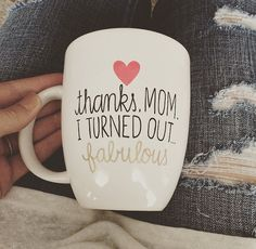 Thanks Mom Coffee Mug - Hand Painted, Handwritten Mug - Mother Birthday Gift, Mother's Day, Mom Birthday