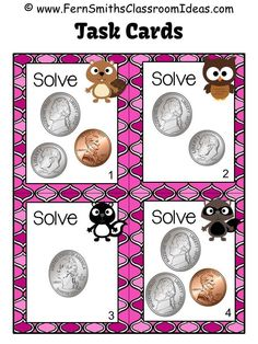 #FREE Four Money, Coin to 25 Cents Task Cards - Critter Themed at the FREE Preview at #TPT #FREEBIE #FernSmithsClassroomIdeas