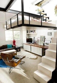 Awesome floating bed bedroom layout.