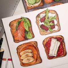 Art inspiration w 2019 Travel Sketchbook, Art Sketchbook, Watercolor Food, Watercolor Illustration, Food Sketch, Food Painting, Food Journal, Food Drawing, Sketchbook Inspiration