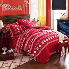 Christmas Snowflakes Reindeers Printing Red 100% Cotton 4-Piece Duvet Cover Sets - beddinginn.com